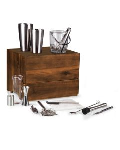Madeline Luxe Cherry Wood Tabletop Bar Set
