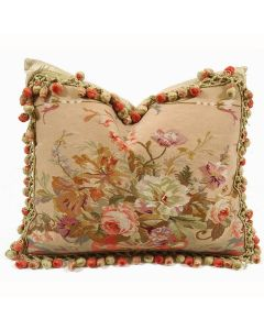 Maggie 26 Hand woven Aubusson Pillow With Feather Insert