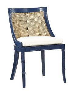 Mahogany Spoonback Dining Side Chair in Parisian Blue Lacquer