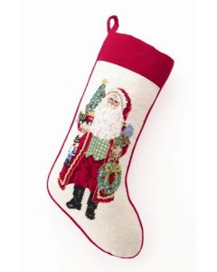 Making Spirits Bright Santa Claus Needlepoint Stocking - ON BACKORDER UNTIL JUNE 2019