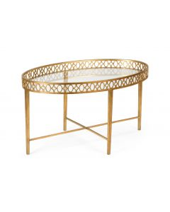 Manor House Antique Gold Leaf Cocktail Table With Clear Glass Top - OUT OF STOCK
