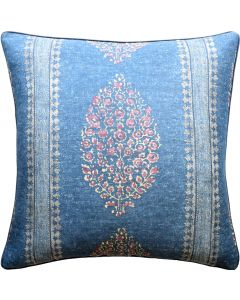 Marathi Decorative Throw Pillow in Navy and Red