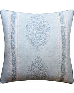 Marathi Decorative Throw Pillow in Slate Blue – Available in Two Sizes