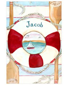 Lifesaver & Sailboat Beach Theme Personalized Canvas Wall Art for Kids