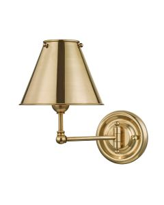 Mark D. Sikes for Hudson Valley Lighting Classic Aged Brass One Light Wall Sconce