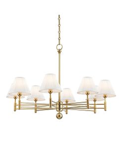 Mark D. Sikes for Hudson Valley Lighting Classic No. 1 Aged Brass 8 Light Chandelier