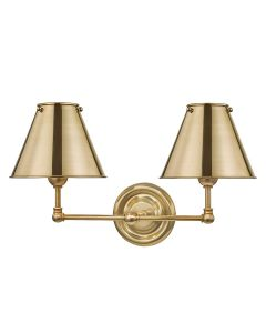 Mark D. Sikes for Hudson Valley Lighting Classic No. 1 Aged Brass Two Light Wall Sconce with Metal Shade