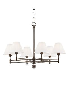 Mark D. Sikes for Hudson Valley Lighting Classic No. 1 Distressed Bronze 6 Light Chandelier