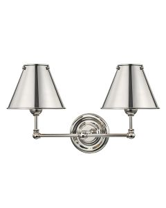 Mark D. Sikes for Hudson Valley Lighting Classic No. 1 Polished Nickel Two Light Wall Sconce with Metal Shade