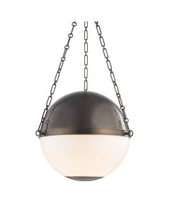 Mark D. Sikes for Hudson Valley Lighting Opal Glass and Distressed Bronze Sphere No. 2 Three Light Large Pendant