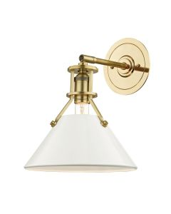 Mark D. Sikes for Hudson Valley Lighting Painted No. 2 Aged Brass And Off White Wall Sconce – ON BACKORDER UNTIL EARLY AUGUST 2019