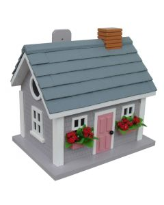 Martha's Vineyard Cottage Birdhouse in Grey with Window Boxes & Pink Door - OUT OF STOCK
