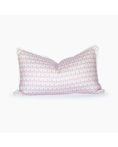 Mary Had a Little Lamb White and Blush Lumbar Linen Pillow