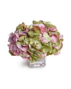 Mauve & Green Silk Hydrangea Blossoms in Glass Cube Vase