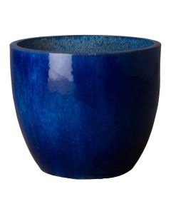 Medium Round Garden Planter with Blue Glaze