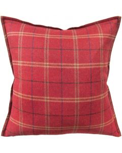 Merino Wool Plaid Decorative Throw Pillow in Red - Available in 3 Sizes