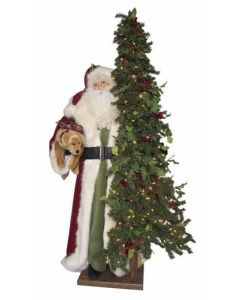 Merry Christmas Life Size Decorative Santa With Tree and Dog