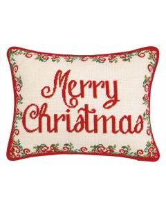 Merry Christmas Needlepoint Holiday Pillow - ON BACKORDER UNTIL SEPTEMBER 2020