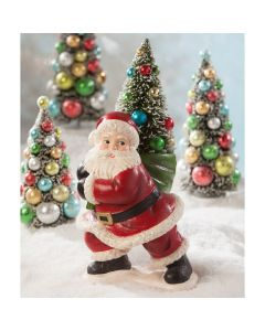 Merry Santa Carrying Tree Christmas Decoration - ON BACKORDER UNTIL JULY 2021