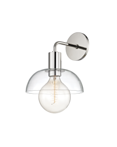 Mitzi by Hudson Valley Lighting Kyla Wall Sconce with Clear Dome Shade  Available in Three Finishes