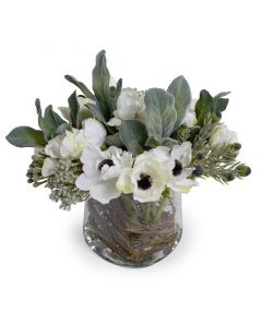 Mixed Faux Fresh Flower Arrangement with Lambs Ear & Anemones