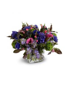 Mixed Flowers Arrangement in Purple, Green and Pink