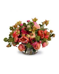 Mixed Flowers Arrangement in Clear Glass Vase