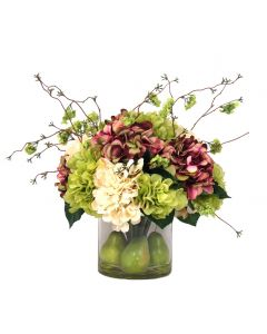 Mixed Hydrangea and Pear Arranged in Tall Glass Container