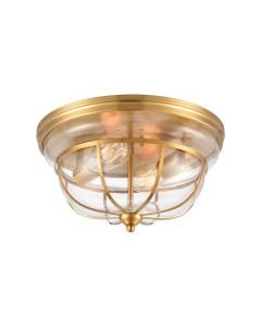 Modern 2-Light Flash Mount in Brushed Brass with Clear Glass