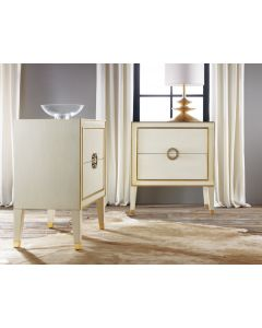 Modern History Retro Nightstand in Cream with Gold Accents - CALL TO CONFIRM AVAILABILITY
