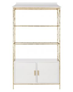 Modern Lacquer Bookshelf with Gold Leaf Hardware