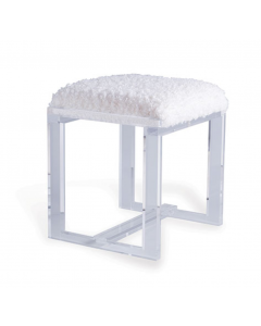 Modern Clear Lucite Bench With White Fur Seat