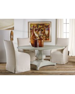 "Modern History 72"" Painted Antique Grey Continental Dining Table with Gold Leaf Detailing"