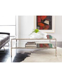 Modern History Antique Aluminum Organic Square Coffee Table With Antique Glass Shelf and Top