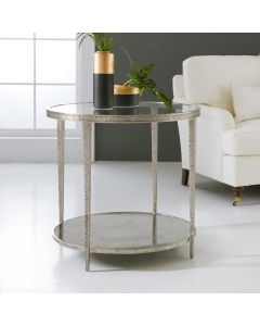 Modern History Antique Aluminum Sculpture Round Accent Table