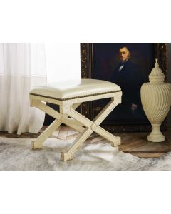 Modern History Antique Painted Continental Stool with Ivory Leather Top and Nailhead Details