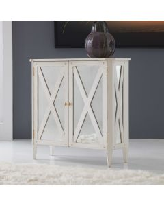 Modern History Antique White Mirrored Two Door Hall Cabinet