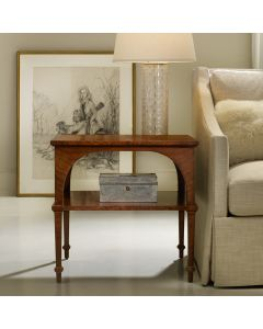Modern History Classical Feathered Walnut Veneer End Table with Shelf
