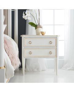 Modern History Covington Two Drawer Bedside Chest In Antique White With Gold Accents