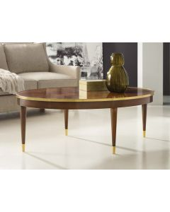 Modern History Feathered Walnut Veneer Oval Cocktail Table with Solid Brass Detailing