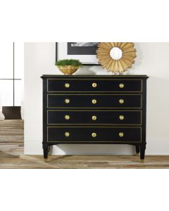 Modern History Four Dovetail Drawers 19th Century Classical Ebony Painted Chest and Solid Brass Details