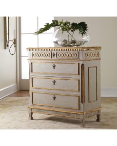 Modern History Four Drawer Painted Antique Grey Regency Chest with Gold Leaf Details