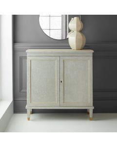 Modern History Gustavian Painted Antique Grey Two Drawer Cabinet with Gold Leaf Detailing and Solid Brass Hardware