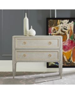 Modern History Gustavian Painted Antique Grey Two Drawer Chest with Gold Leaf Detailing and Hardware - CALL TO CONFIRM AVAILABILITY