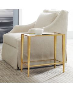 Modern History Large Gold Leafed Finished Gilt Chairside Table with Antique Mirror Glass Top and Bottom