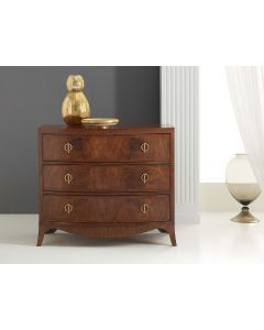 Modern History Medium Mid Tone Walnut Swirl Three Drawer Bowfront Chest with Brass Hardware