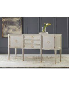 Modern History Painted Antique Grey Concave Buffet with Gold Leaf Accents