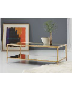 Modern History Sculpture Cocktail Table in Antique Brass