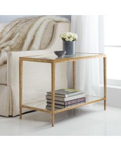 Modern History Sculpture Rectangular Side Table in Textured Antique Brass