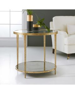 Modern History Sculpture Round Side Table in Textured Antique Brass
